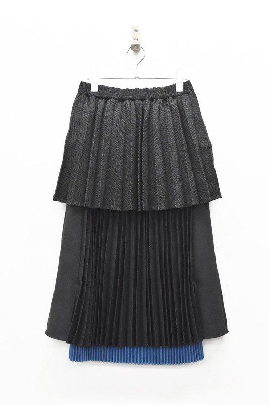 bedsidedrama / Layered School Skirt - CHARCOAL