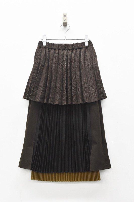 bedsidedrama / Layered School Skirt - BROWN