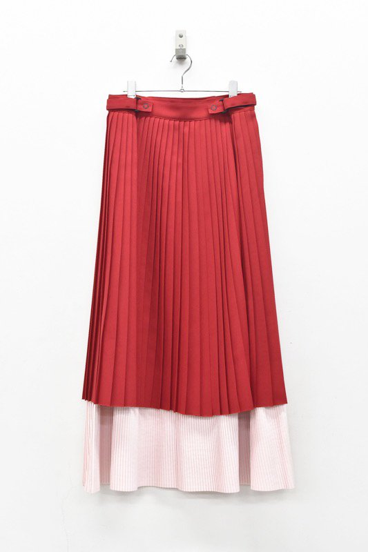NON TOKYO / LAYERED PLEATS SKIRT - RED