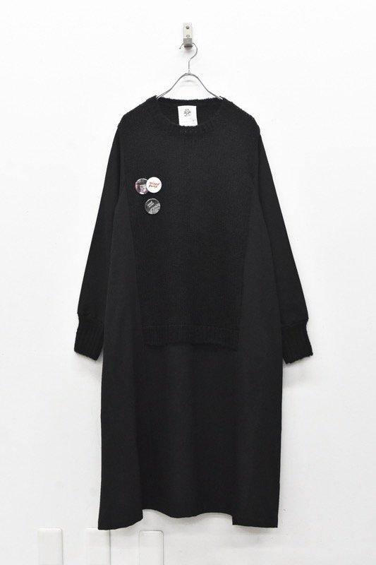 STOF / Mohair Knit Mix Onepiece - BLACK