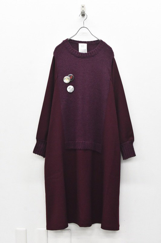 STOF / Mohair Knit Mix Onepiece - WINE