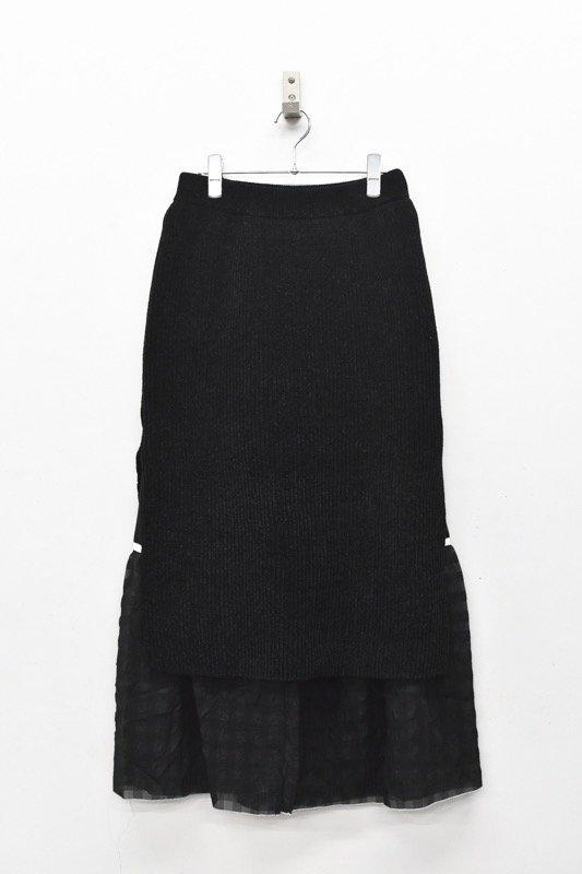 YUKI SHIMANE / Gingham Rib skirt - BLACK
