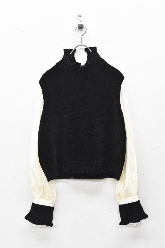 YUKI SHIMANE / Bishop Sleeve Knit top - BLACK