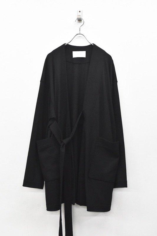 prasthana / compressed wool jersey draping gown - BLACK