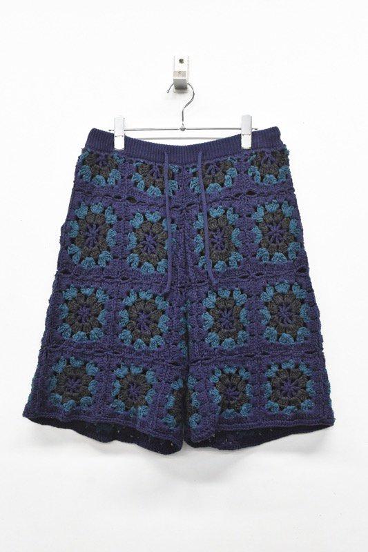 先行予約 elephant TRIBAL fabrics / CROCHET KNIT BERMUDA SHORTS