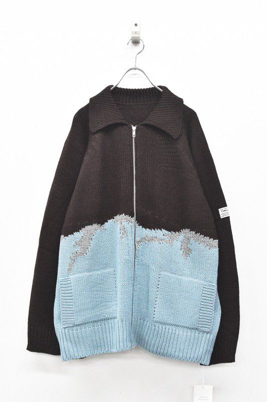 elephant TRIBAL fabrics / William Cowichan sweater - BROWN