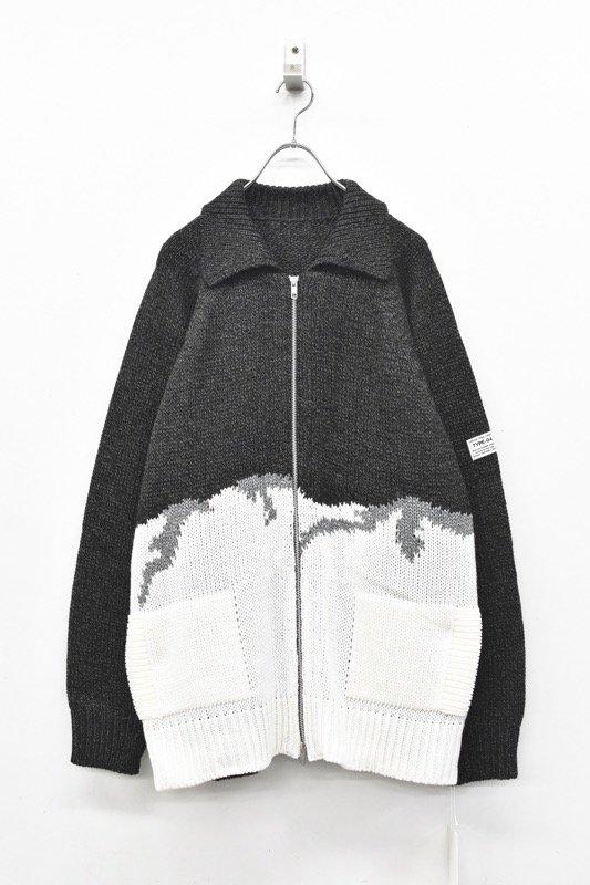 elephant TRIBAL fabrics / William Cowichan sweater - CHARCOAL GRAY