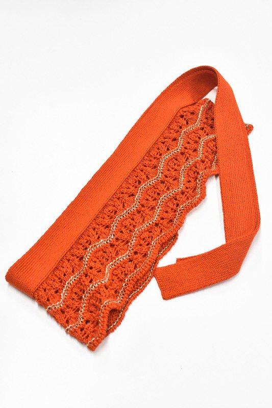 先行予約 YUKI SHIMANE / Waving Lace knit belt - RED