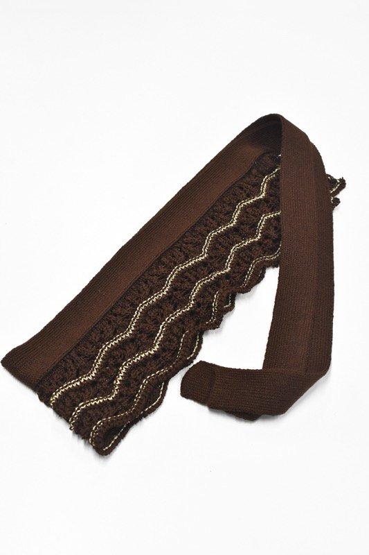 先行予約 YUKI SHIMANE / Waving Lace knit belt - BROWN
