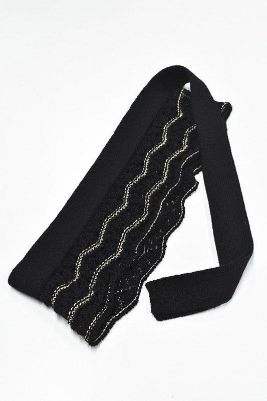 先行予約 YUKI SHIMANE / Waving Lace knit belt - BLACK