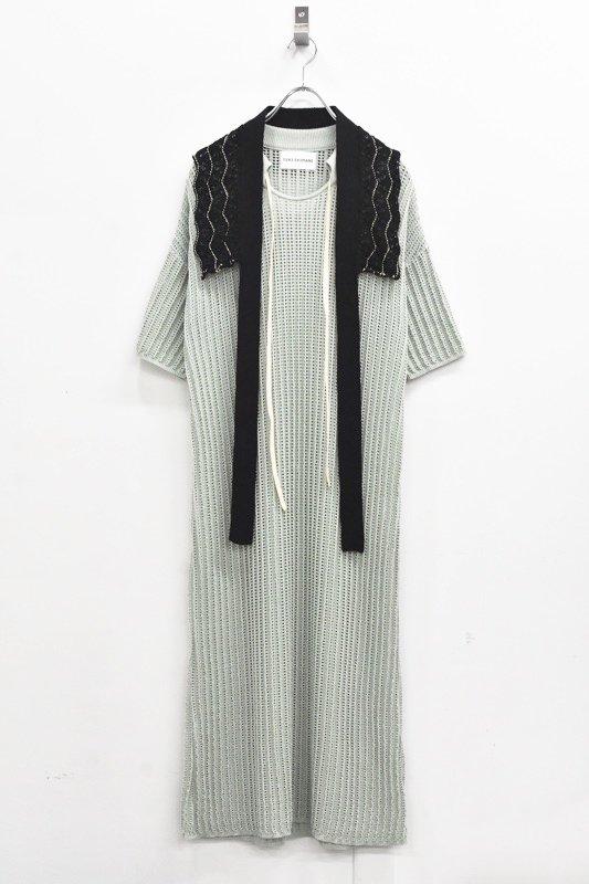 先行予約 YUKI SHIMANE / Cotton mesh Knit dress - PEAL