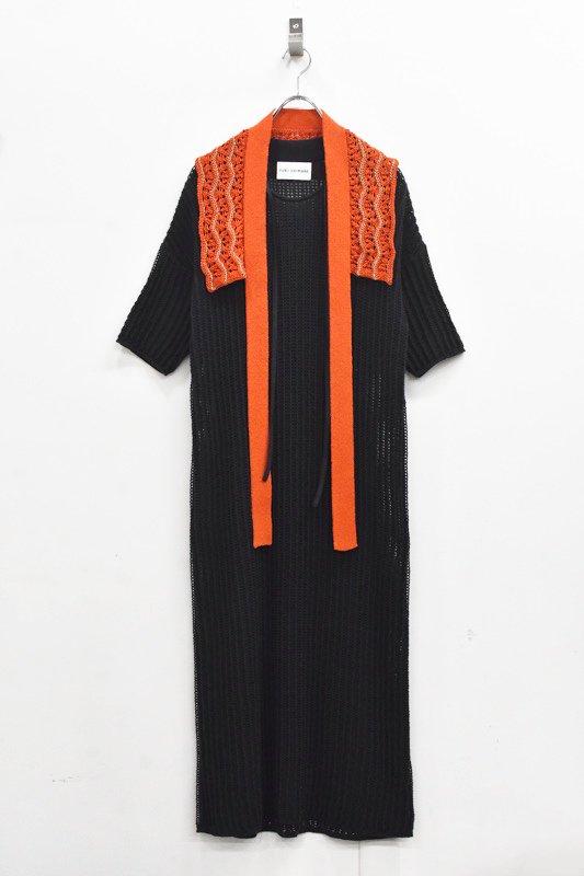 先行予約 YUKI SHIMANE / Cotton mesh Knit dress - BLACK