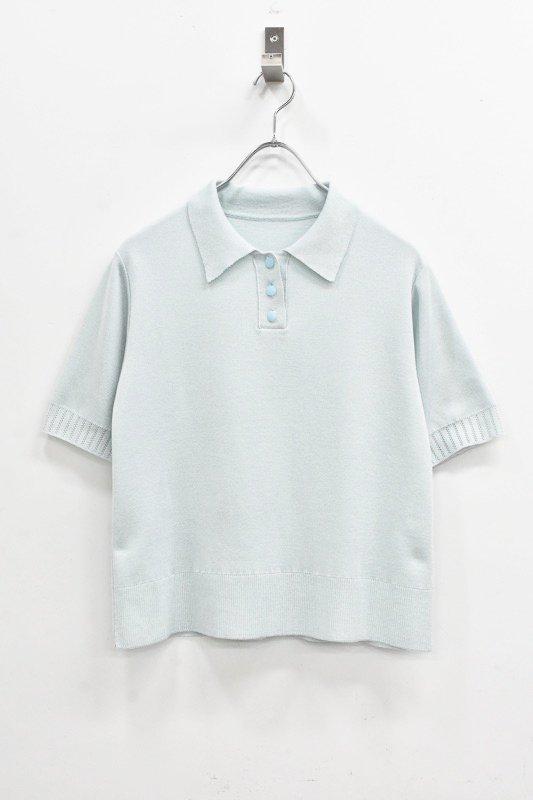 先行予約 YUKI SHIMANE / Melting knit polo - LIGHT BLUE