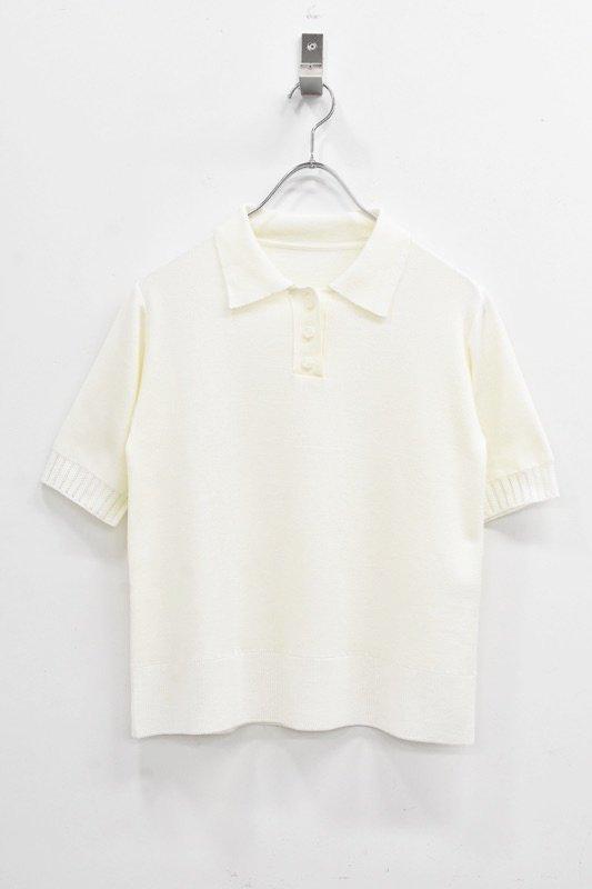 先行予約 YUKI SHIMANE / Melting knit polo - WHITE