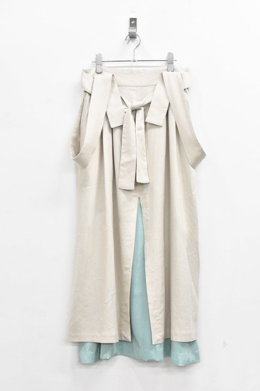 先行予約 YUKI SHIMANE / Linen mix Jumper Skirt - BEIGE