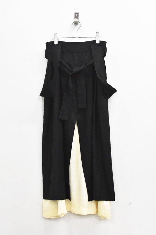 先行予約 YUKI SHIMANE / Linen mix Jumper Skirt - BLACK