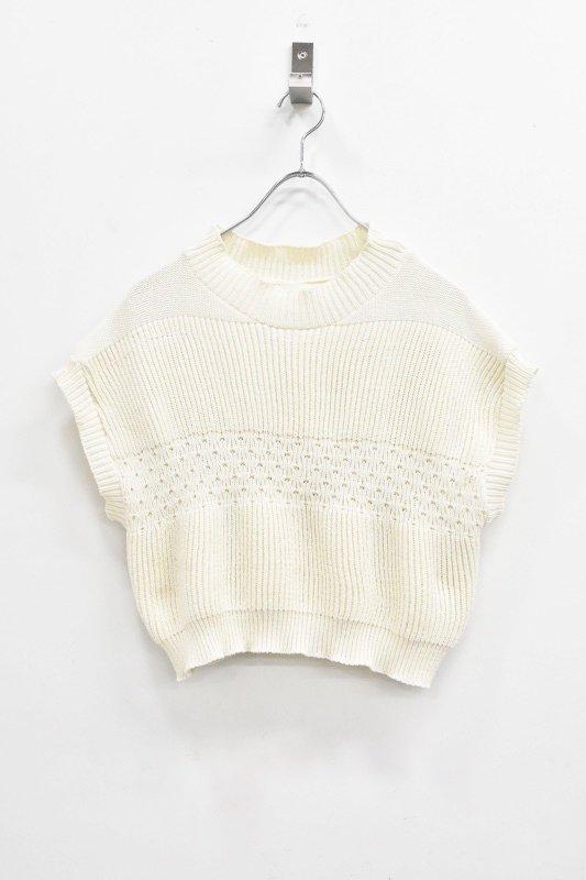 先行予約 YUKI SHIMANE / Tuck up Handknit vest - WHITE
