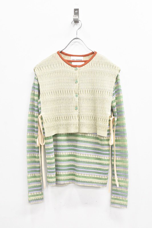 先行予約 YUKI SHIMANE / Random Rib knit vest top - GREEN