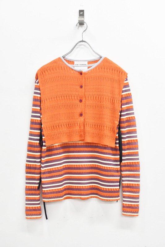 先行予約 YUKI SHIMANE / Random Rib knit vest top - ORANGE