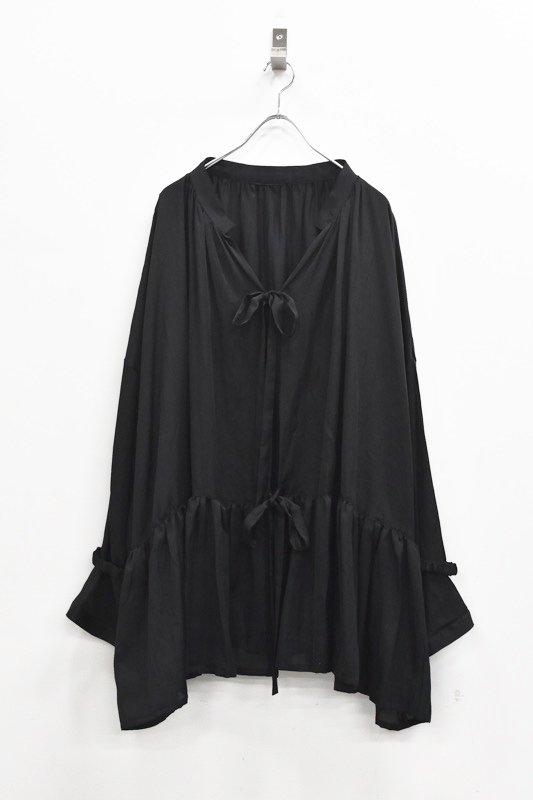 先行予約 YUKI SHIMANE / Stay Lazy Cotton mix shirt - BLACK