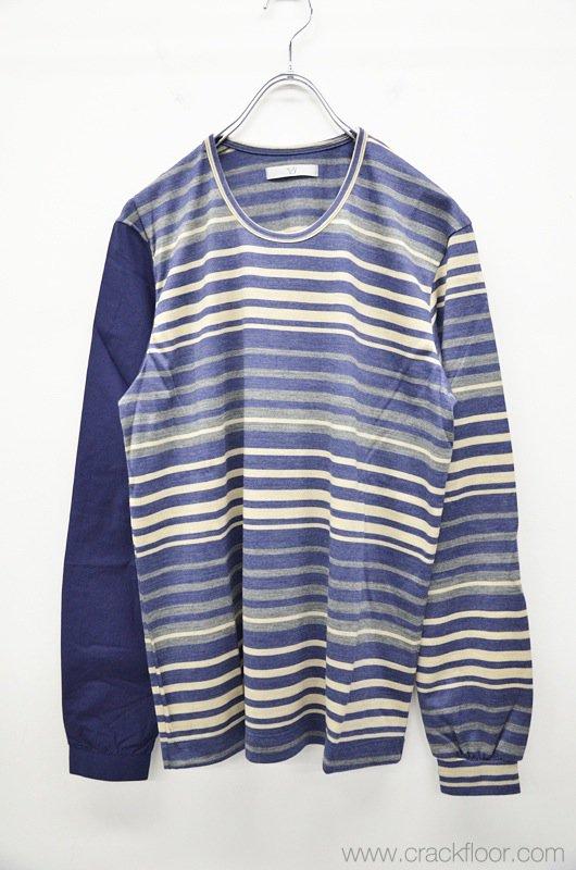 ohta 右シャツ袖ボーダーティ - 紺
