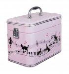 バニティケース ピアノと猫 ピンク