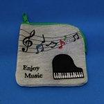 エンジョイミュージック ミニポーチ ピアノ刺繍