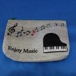 エンジョイミュージック フラットポーチ ピアノ刺繍