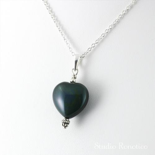 Silver925 オブシディアン ハートペンダントネックレス チェーン付