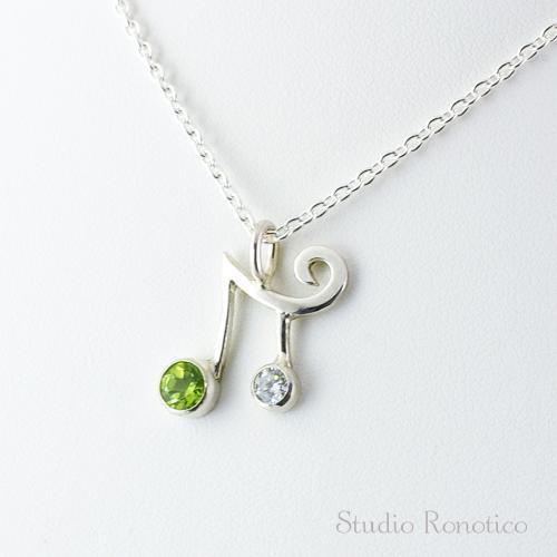 silver925 2連音符のネックレス ペリドット×ジルコニア
