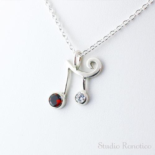 silver925 2連音符のネックレス ガーネット×ジルコニア
