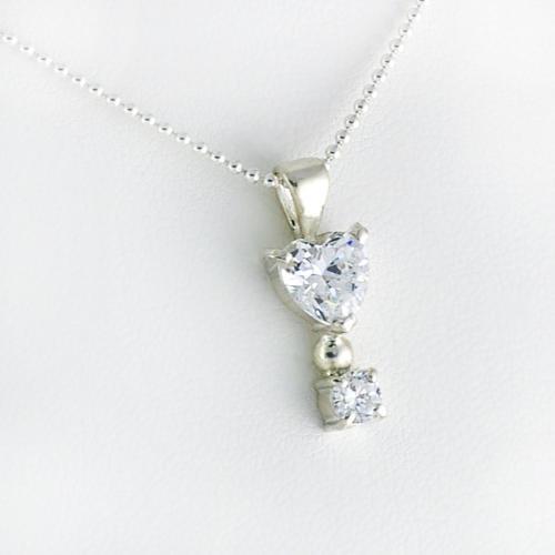 silver925 ハートカットペンダント ジルコニア