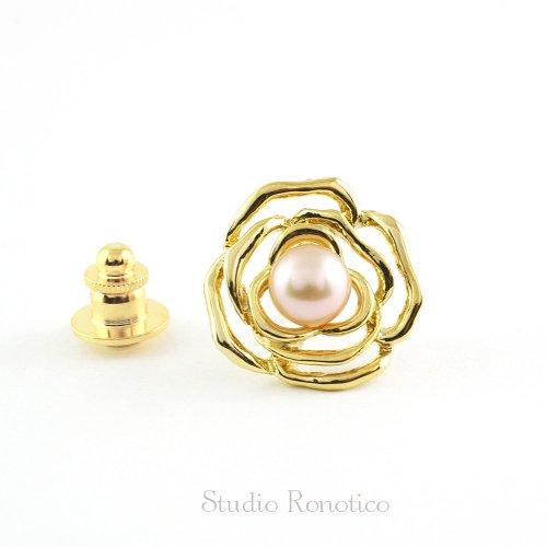 淡水パール8mm 薔薇の ピンブローチ ラペルピン ブートニエール ゴールド br-94