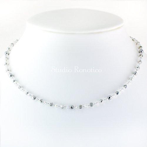 silver925 キラキラお洒落な磁気ネックレス ガラスビーズとヘマタイト シルバー 長さ選べるマグネット jnk-5nmg