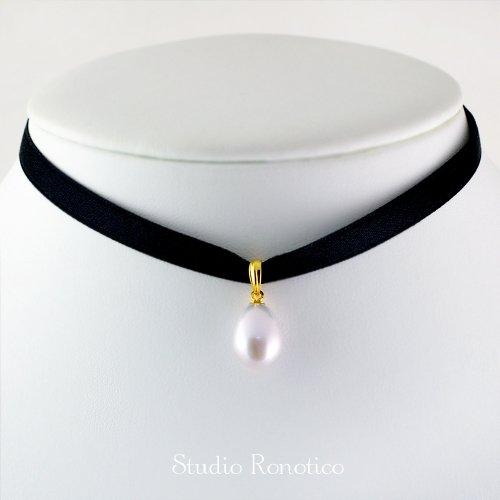 本真珠 淡水パール リボンチョーカー ゴールド