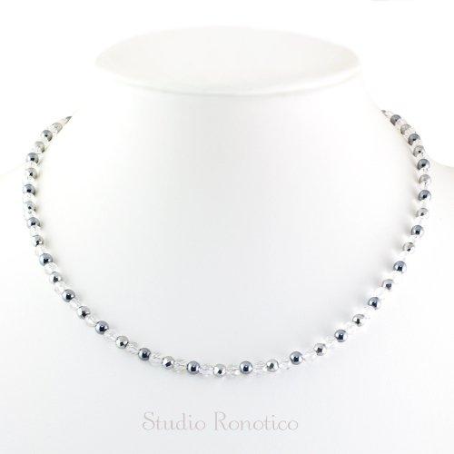 水晶 & テラヘルツ 磁気ネックレス Silver925マグネットクラスプ 女性 男性 ユニセックス 日本製 45cm