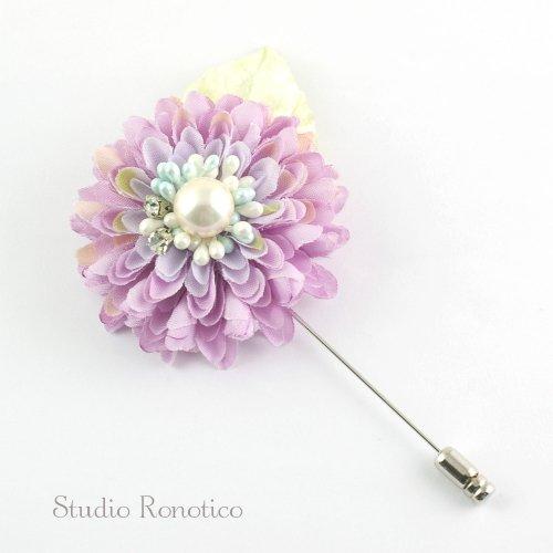 ダリア お花と貝パール ブートニエール ピンブローチ ラペルピン コサージュ ピンク