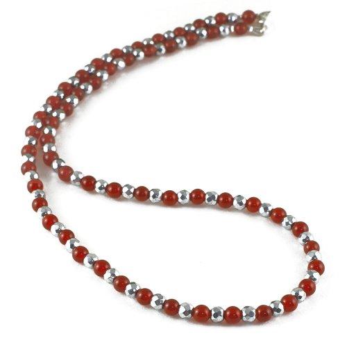 レッドアゲート 天然石 磁気ネックレス Silver925マグネットクラスプ おしゃれ 女性 男性 ユニセックス