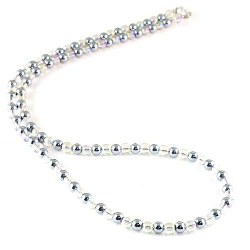レインボーオーラクリスタル 天然石 磁気ネックレス Silver925マグネットクラスプ おしゃれ 女性 男性 ユニセックス