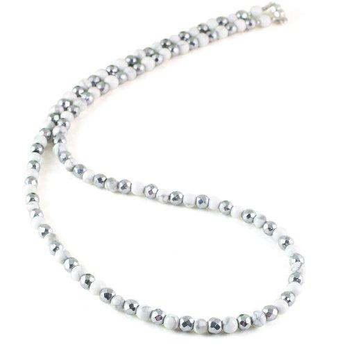 ハウライト 天然石 磁気ネックレス Silver925マグネットクラスプ おしゃれ 女性 男性 ユニセックス