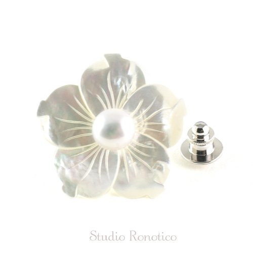 白蝶貝と本真珠淡水パール お花のブートニエール ピンブローチ ラペルピン