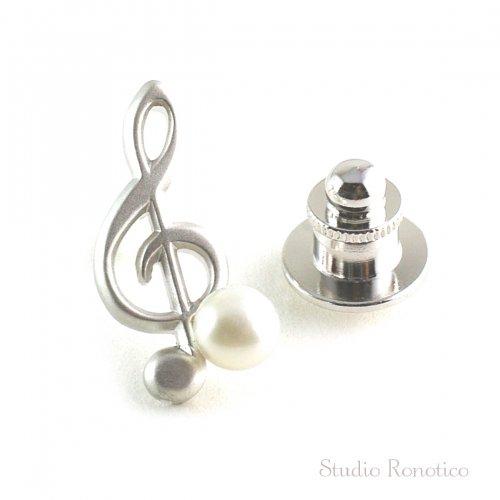本真珠淡水パール6mm 小さなト音記号 ピンブローチ ラペルピン ブートニエール タイタック