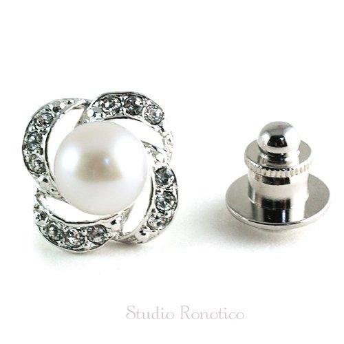 ホワイト本真珠 淡水パール8.5~9mm お花のブートニエール ピンブローチ ラペルピン