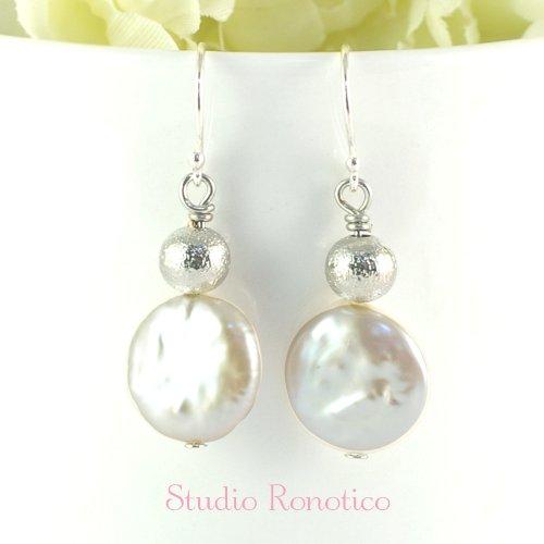 Silver925 本真珠淡水コインパール ピアス イヤリング
