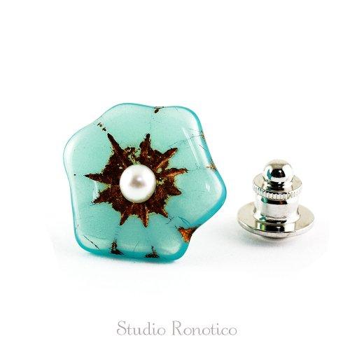 チェコガラス 淡水パール お花のブートニエール ピンブローチ ラペルピン ブルー