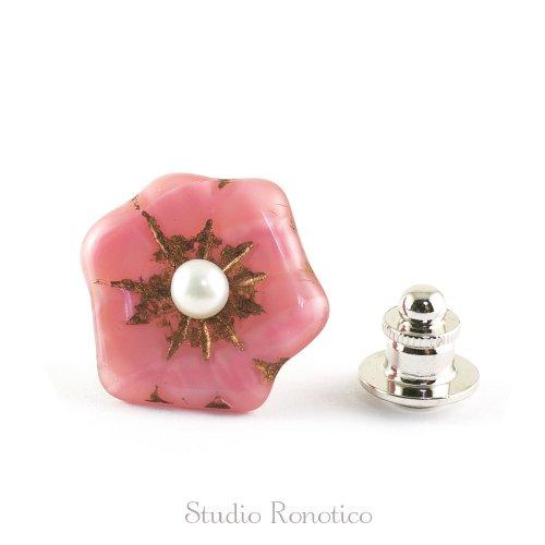 チェコガラス 淡水パール お花のブートニエール ピンブローチ ラペルピン ピンク