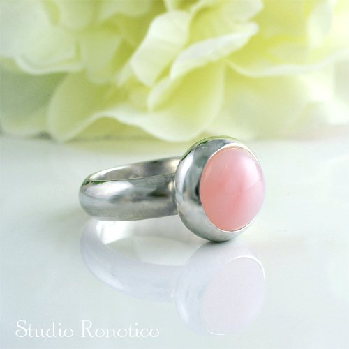天然石 ピンクオパール シルバー  リング #11 silver 925