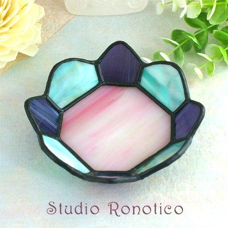 ステンドグラス浄化トレイ*クリスタル水晶付きve