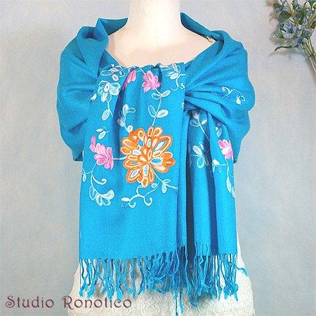 パシュミナ&シルク 刺繍ストールsb