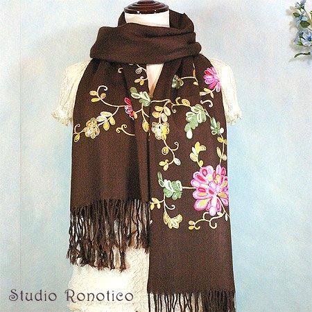 パシュミナ&シルク 刺繍ストールsbr